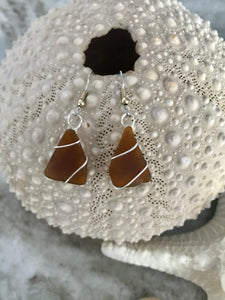 Simple wrap brown sea glass earrings