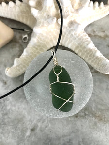Simple wrap olive green sea glass necklace
