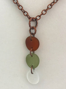 Three pieces of sea glass on copper chain