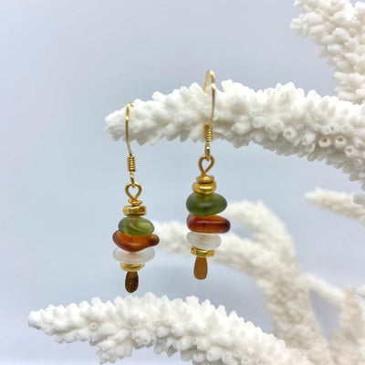 Stacked sea glass earrings