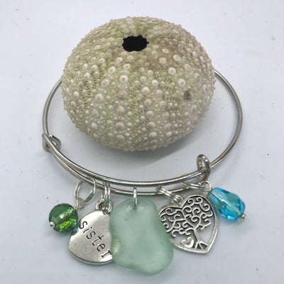 Sister sea glass bracelet