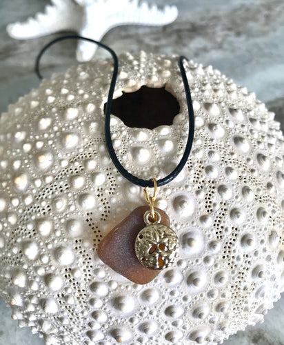 Sand dollar charm and sea glass necklace