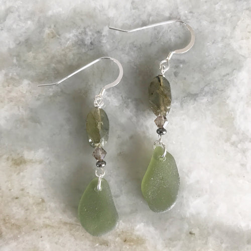 Labradorite and olive green sea glass earrings