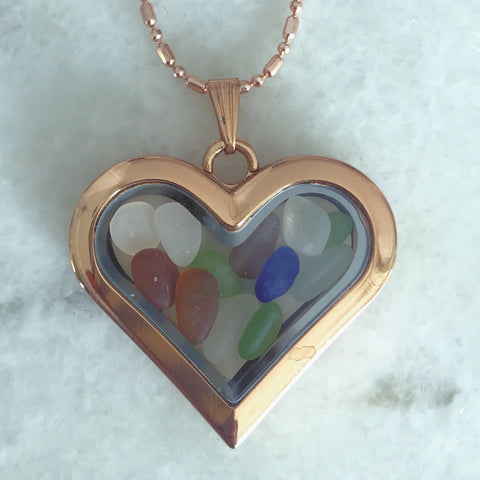 Heart locket with miniature sea glass