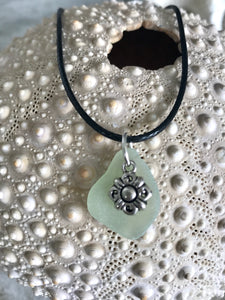 Flower charm and sea glass necklace