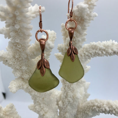 Olive sea glass with copper finding's
