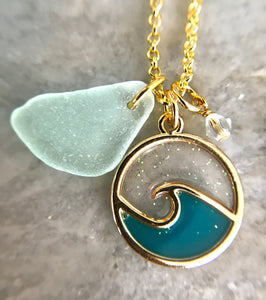 Sea foam sea glass with wave charm and crystal necklace