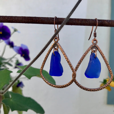 Cobalt Blue sea glass and copper earrings