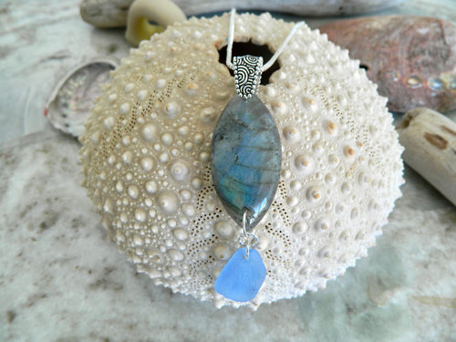 Labradorite and cornflower blue colored sea glass pendant