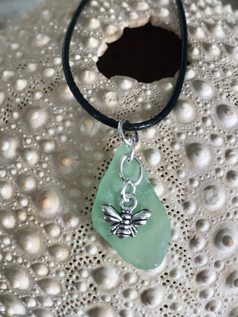 Bee charm and sea glass necklace