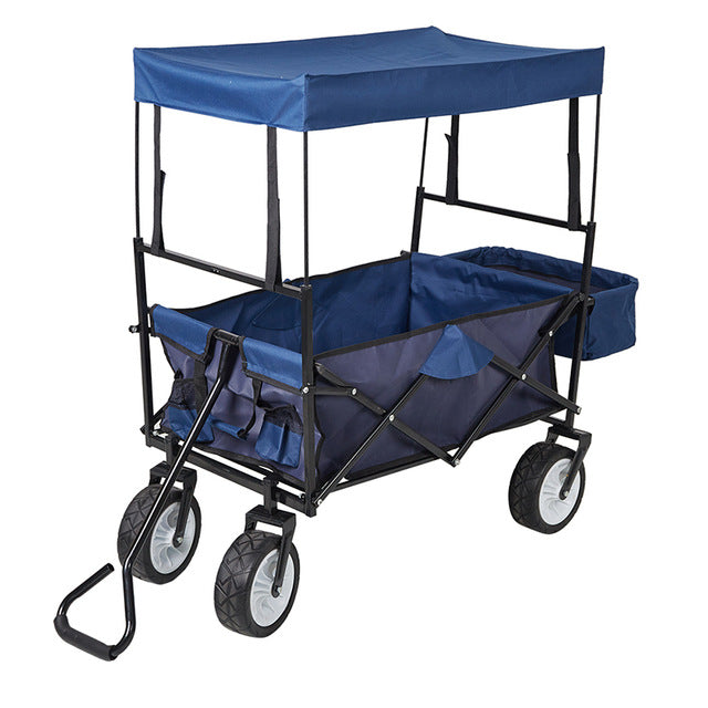 Outdoor Folding Wagon / Collapsible Utility Cart with Removable Canopy & Storage Basket