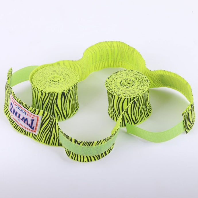 Neon Green Zebra Stripe Hand Wraps for Boxing, KickBoxing, Muay Thai and MMA - Twins - Soldier Complex