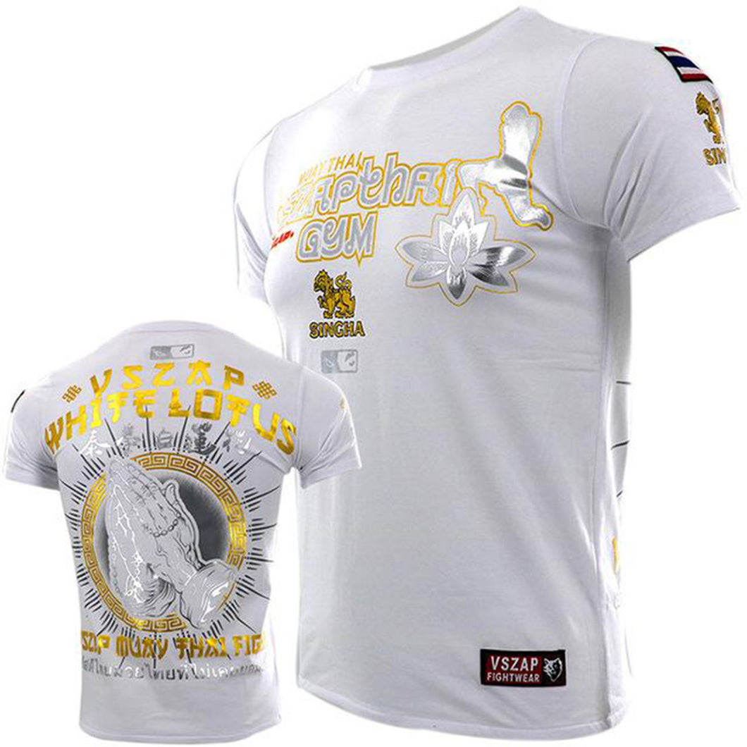 White Lotus Fist 002 Muay Thai Fighter Athletic Fit T-Shirt - VSZap 004 - Soldier Complex