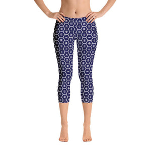 Women's African Print Adinkra Capri Yoga Pants Workout Leggings For Jiu Jitsu 001 - Soldier Complex