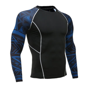 Azure Abstract Long Sleeve No Gi BJJ Compression Rash Guard for Jiu Jitsu, MMA, Grappling and Wrestling - Soldier Complex
