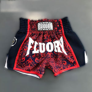 Red Trim Patterned Muay Thai and Boxing Shorts - Floury 002 - Soldier Complex