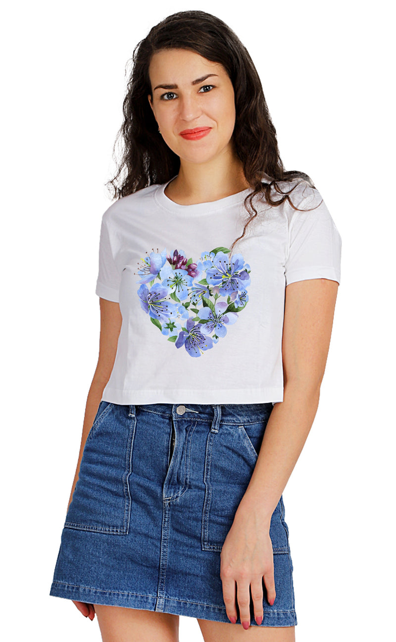 Blue CARITAS EST Crop TOP