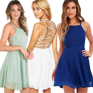 Women's Chiffon Cocktail Backless Dress - The Clothing Corp