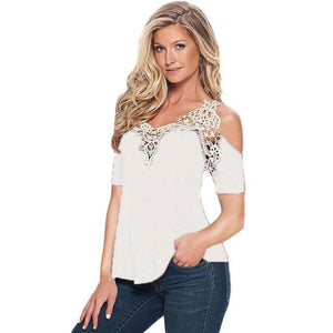 Women's Off The Shoulder Shirt With Lace - The Clothing Corp
