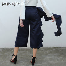 Women's High Waist Wide Leg Ruffle Trousers - The Clothing Corp