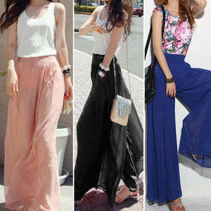Women's Wide Leg High Waist Chiffon Trousers - The Clothing Corp