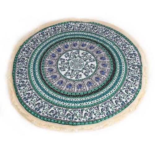 Round Mandala Blue Green & Red - The Clothing Corp