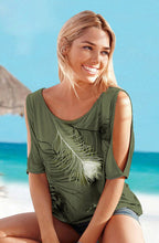 Women's Slit Sleeve Cold Shoulder Feather Print T-Shirt - The Clothing Corp