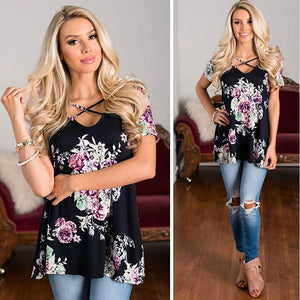 Women's Spring V-Neck Printed Shirt - The Clothing Corp