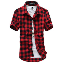 Men's Checkered Short Sleeved Plaid Shirts - The Clothing Corp