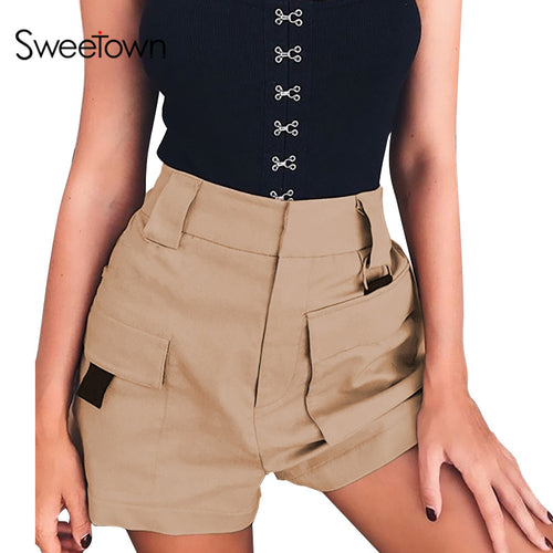 Women's High Waist Casual Straight Shorts - The Clothing Corp