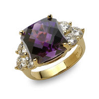amethyst colored gemstone ring