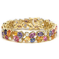 colored gemstone bracelet in gold