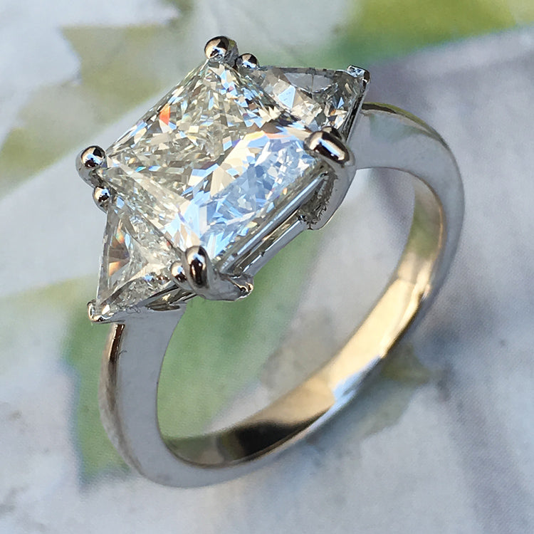 4.6 Carat + Princess Cut Diamond Engagement Ring - Three Stone