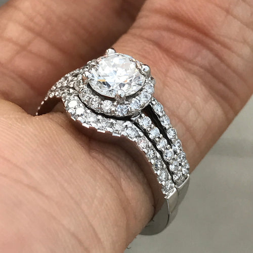 Round Diamond Halo Split Shank With Matching Wedding Band - 1.36 Carat TW