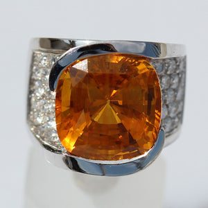 Saphhire Honey Orange Cocktail Diamond Ring - 15.65 CTW