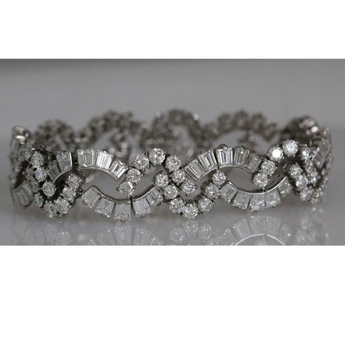 Tiffany & Co. Vintage Estate Platinum Diamond Bracelet 22.7 cts Art Deco