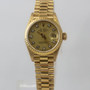 Rolex Ladies Datejust 69178 18k Yellow Gold Champagne Diamond Dial