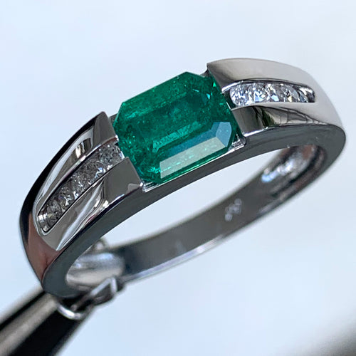 Green Emerald and Diamond Engagement Ring, 14 Karat Gold, Ben Dannie