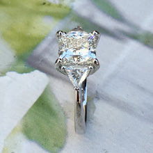 Load image into Gallery viewer, 4.6 Carat + Princess Cut Diamond Engagement Ring - Three Stone