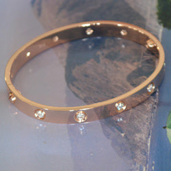Cartier Love Bracelet Rose Gold With 10 Diamonds Size 17