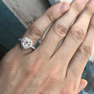 Heart Shape Diamond Halo Engagement Ring -1.7 Carat TW
