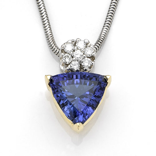 Violet Tanzanite Pendant Yellow Gold - 6.2 CTW