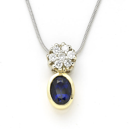 Sapphire and Diamond Pendant 18k Yellow Gold - 2.4 CTW
