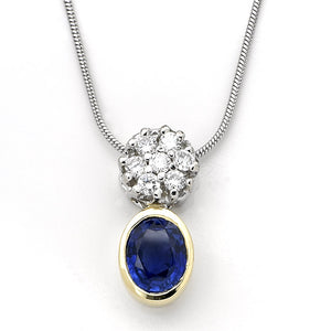Sapphire & Diamond Pendant Set in Gold - 2.10 CTW