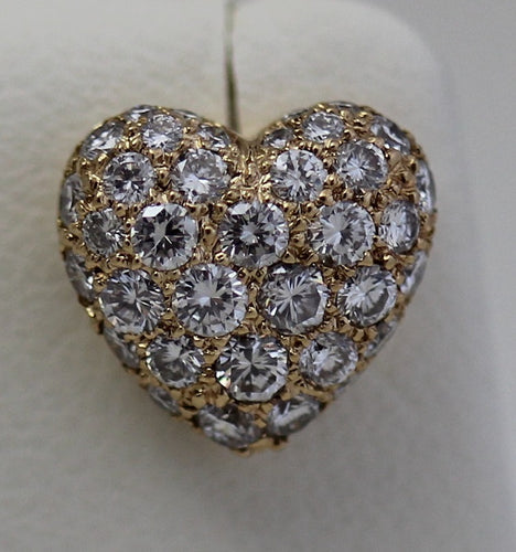 Cartier 18k Y Gold Pave Diamond Heart Earrings