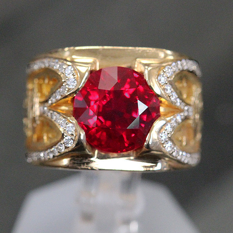 Pigeon Blood Burma Ruby and Diamond Ring - 4.02 Carat