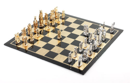 Chess Set Solid Silver and 18k Gold Plated - Roman Design