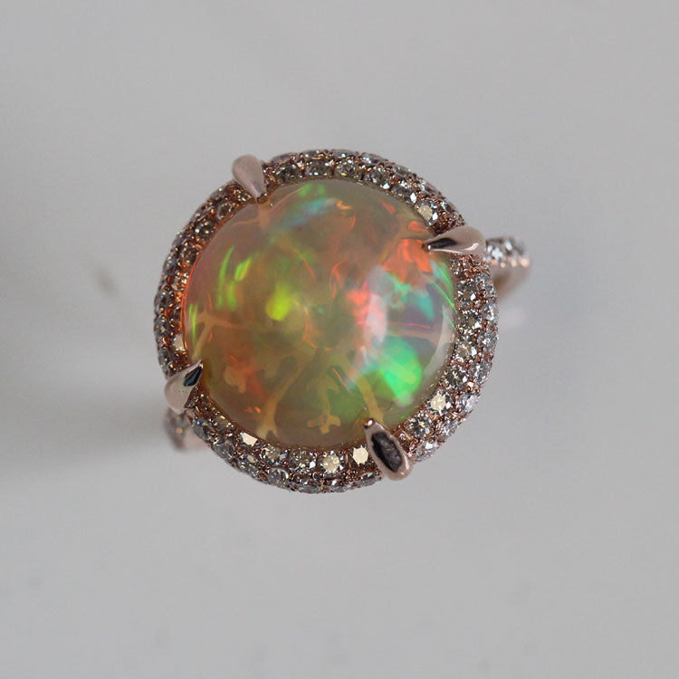 Pink Gold Opal Ring