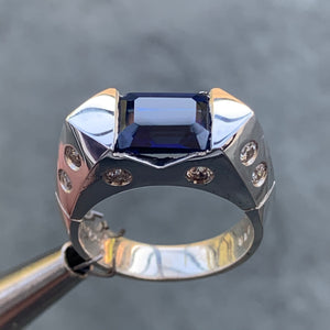 Emerald Cut Blue Sapphire Ring, 2.8 Carat TW, Ben Dannie Original Design