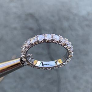 1.5 Carat TW Round Diamond Ring Eternity Band French Pave, Ben Dannie Design